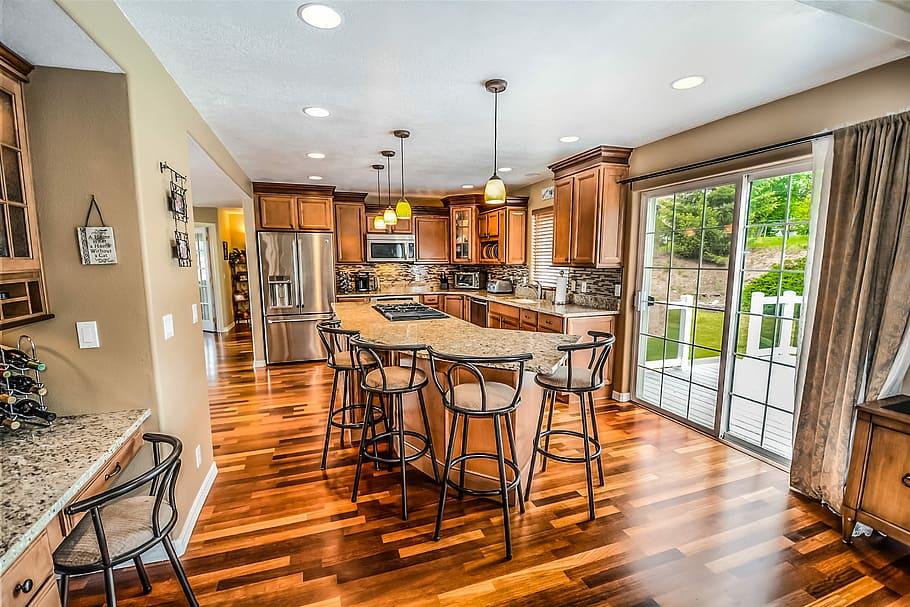 how to secure kitchen island to hardwood floor