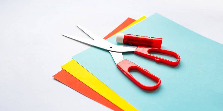colorful papers and scissor