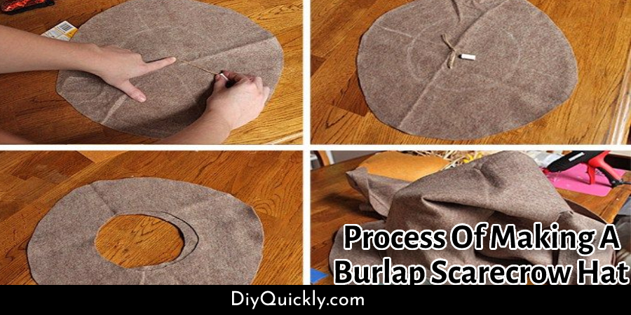 Process Of Making A Burlap Scarecrow Hat