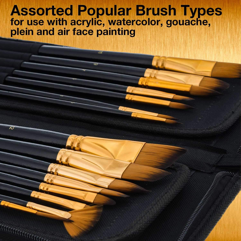 U.S. Art Supply 15 Piece Artist Long Handle Synthetic Paint Brush Set - Multi Functional Watercolor Gouache Oil Acrylic Brush Set in Zippered Nylon Pop-Up...