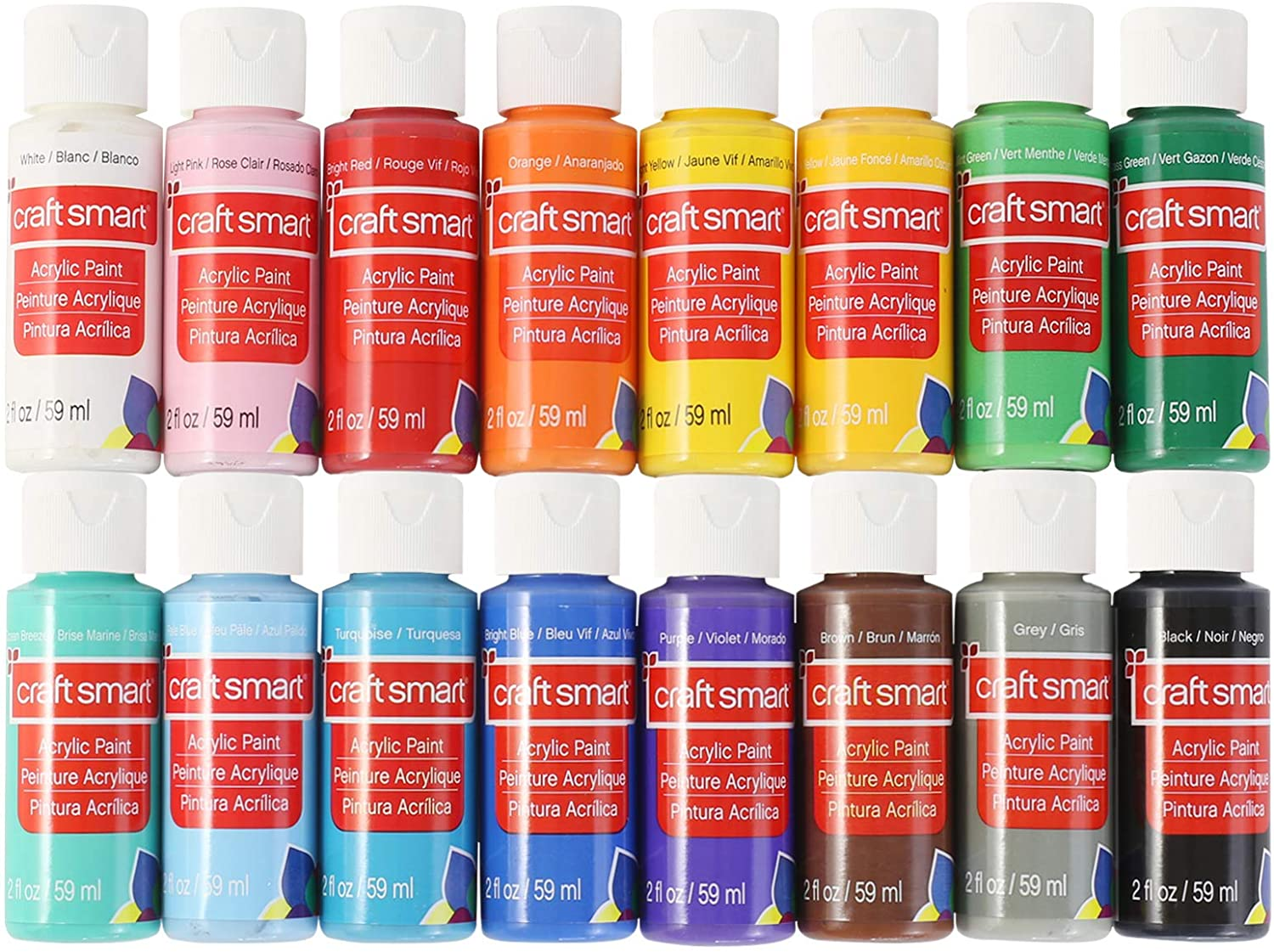 Craft Smart Acrylic Paint Set Value Pack, 16 Colors – All-Purpose Paint Kit for Beginners and Professionals
