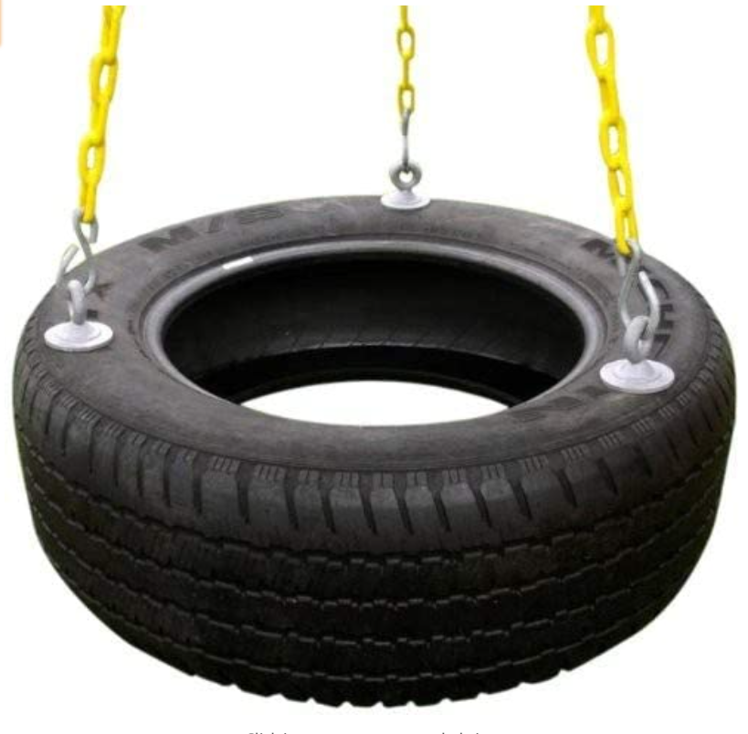 Eastern Jungle Gym Heavy-Duty 3-Chain Rubber Tire Swing Seat with Adjustable Coated Swing Chains