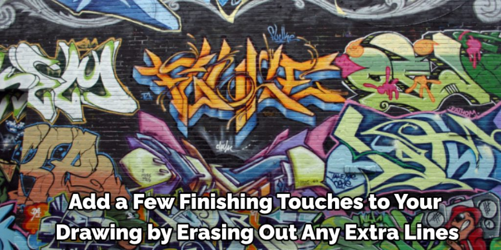 Finish Drawing and Color Line Art If Needed on brick wall with graffiti