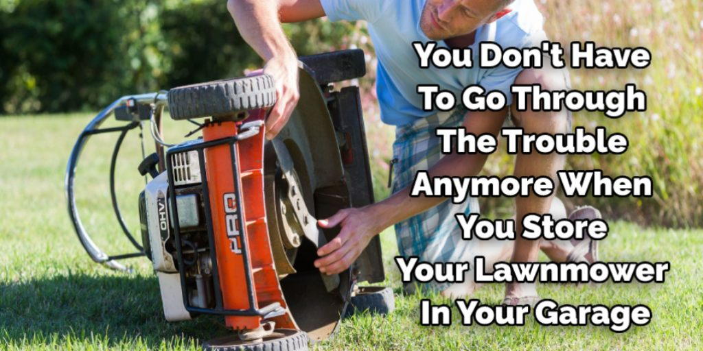 Cleanup for a lawn mower in garage