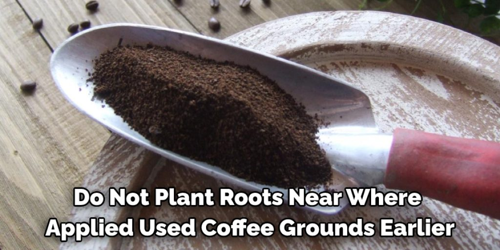 While applying used coffee grounds in your garden